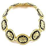 GWOOD Medusa Nine Heads Gold Color With Black Enamel Pendant Necklace Choker Style 15 1/2 Inch Length