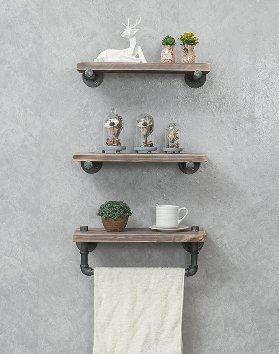 Industrial Pipe Shelving Shelves Bookcase Rustic Wood