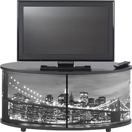 Simmob print110nob TV Stand/Panel Wood 45.4x 50.8x 110,4cm Melamine Black
