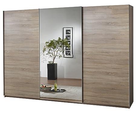 fresh to go 597859 Schwebeturenschrank 300 x 218 x 65 cm, Front und Korpus Eiche Sägerau Nachbildung / mittig Spiegeltur
