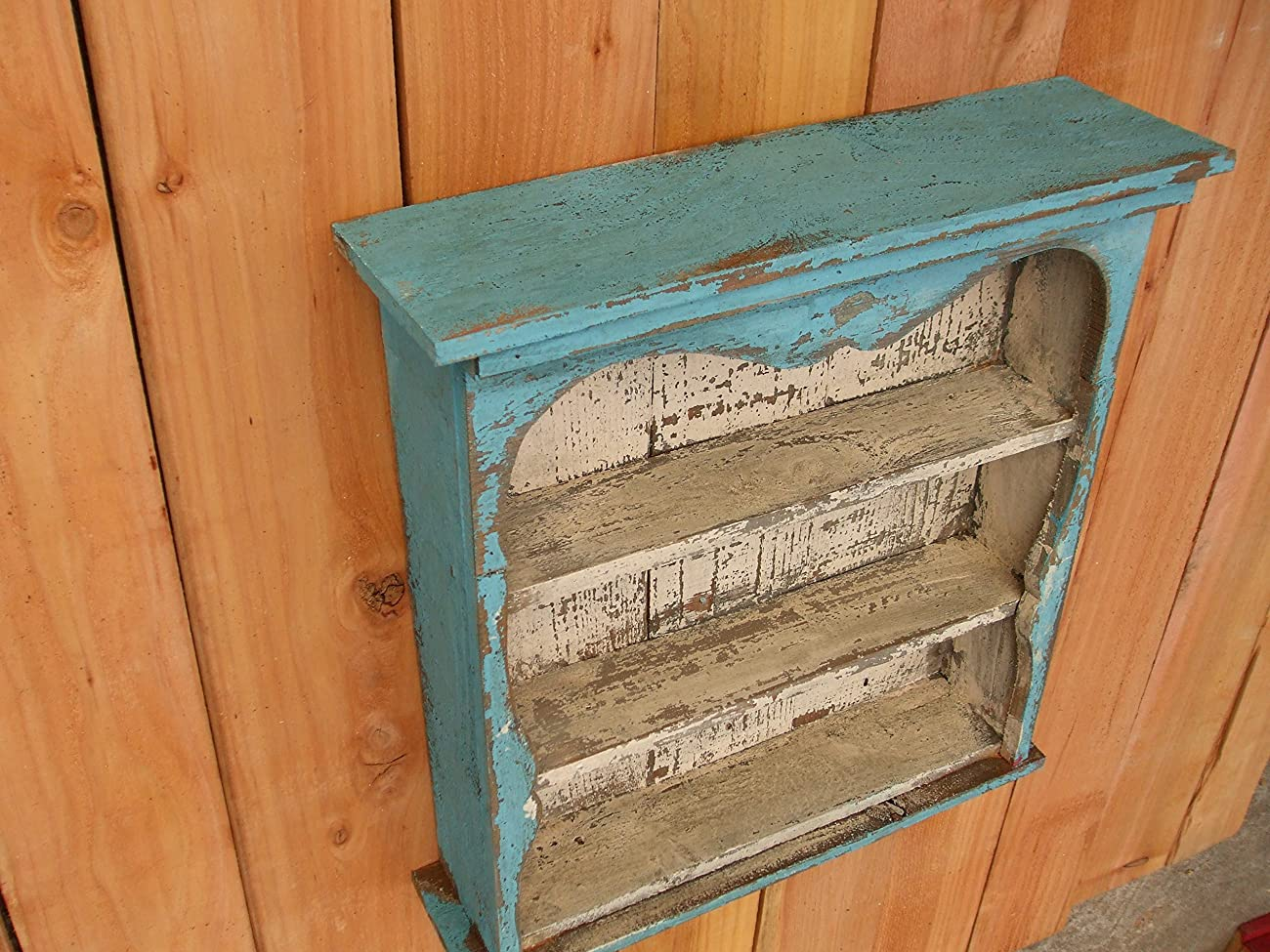 Shabby Chic Style Blue Wall Shelf, Distressed Turquoise, Book Shelf, French Country, Shadow Box, Display Case, CEDAR, HANDMADE	 3