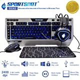 SportsBot SS302 4-in-1 LED Gaming Over-Ear Headset Headphone, Keyboard, Mouse & Mouse Pad Combo Set w/ 6 Programmable Macro Keys, 3 Macro Modes, 40mm Speaker Driver, Microphone (Color: blue)