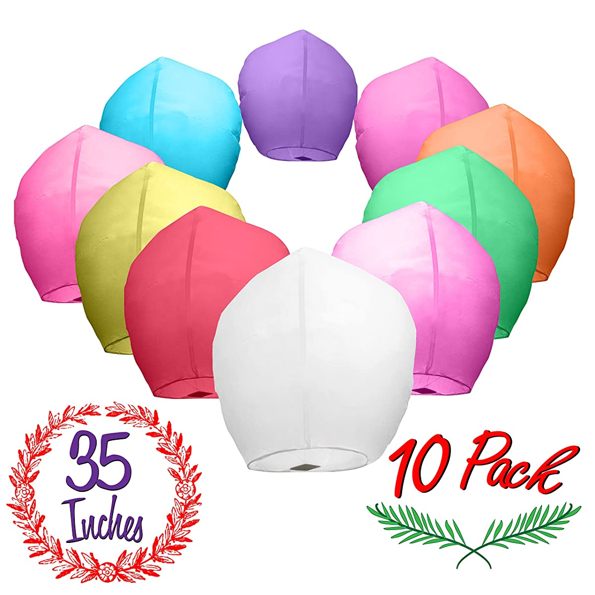Chinese Paper Sky Lanterns (10) Colorful Mixed Pack - Ready to Use and Eco Friendly - Extra Large - 100% Biodegradable - Beautiful Blue Night Sky Lantern, New Years Eve, Chinese Festival