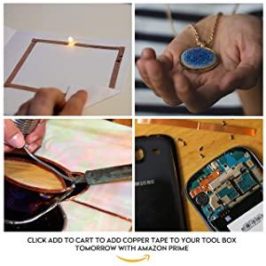 Copper Foil Tape [2 Huge Rolls] (1/4inch X 36yd Each) 72 Yard Pack with Conductive Adhesive - Stained Glass, Soldering, Electrical Repair, Grounding, EMI Shielding - Extra Value Pack- Thicker Foil (Color: Copper)