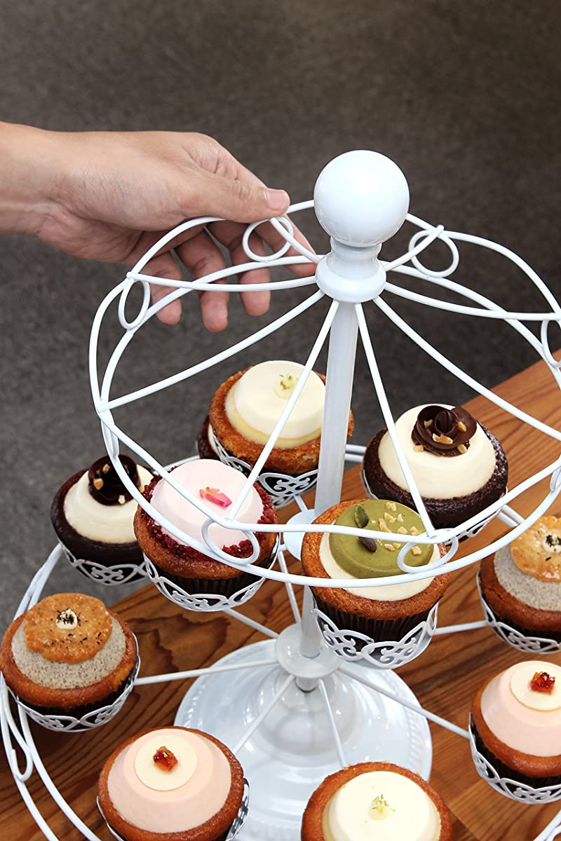 Carousel Cupcake Rack Holder - Holds Up To 10 Cupcakes - White