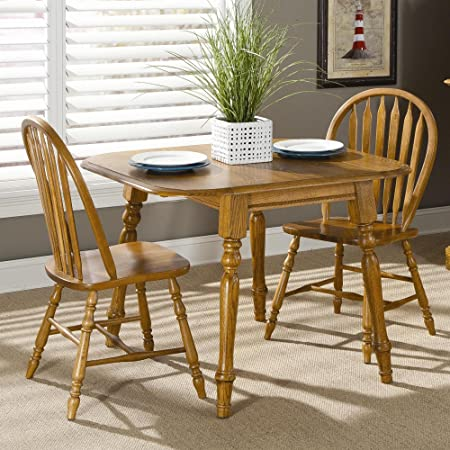 Brooks Furniture Traditional 23642M-1118M Top Square Round Dropleaf Table with 2 Leaves and 2 Arrow Back Side Chairs, Medium, Oak Finish