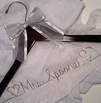 Bride Dress Hanger – Personalized, Wedding – Silver Wire -White Padded Hanger ANY NAME, Bridal