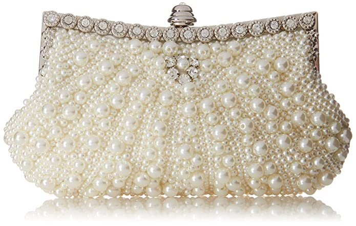Fawziya® Pearl Clutch Purse For Wedding Beaded Crystal Handbag-ivory
