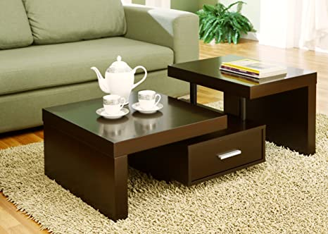 Furniture of America Leveled Coffee Table with Drawer, Cappuccino