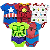 Marvel Baby Boys' 5 Pack Onesies - The Hulk, Spiderman, Iron Man and Captain America (3-6 Months) (Color: Multi, Tamaño: 3-6 Months)