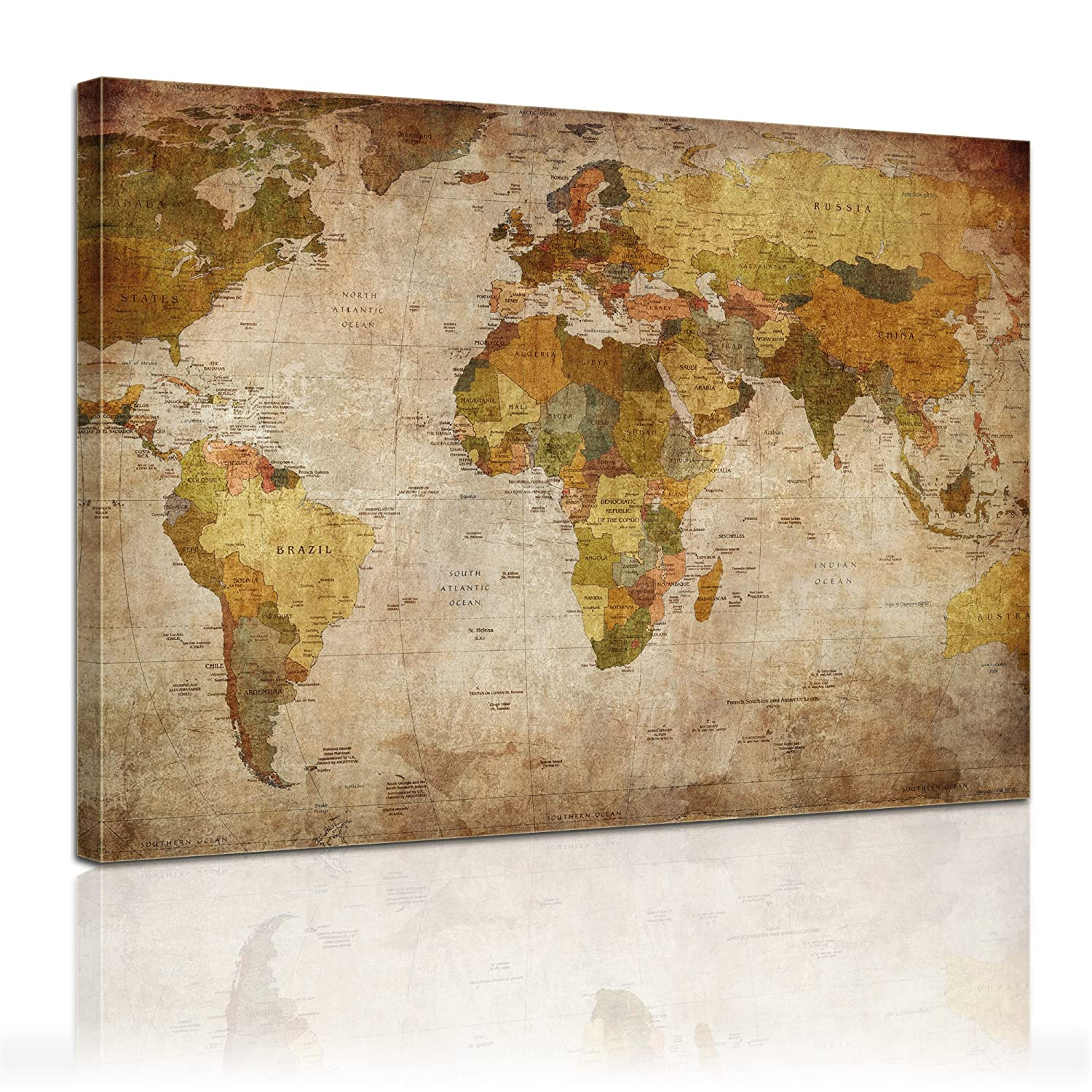 weltkarte auf leinwand world map weltkarte peta dunia mapa del mundo earth map. Black Bedroom Furniture Sets. Home Design Ideas