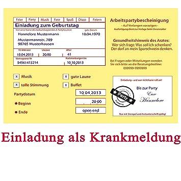 Einladungskarten Zum Geburtstag Motiv: Krankenschein (inkl. Druck ...