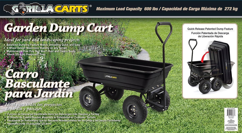 Garden Dump Cart Poly Wheelbarrow Wagon Heavy Duty Gorilla