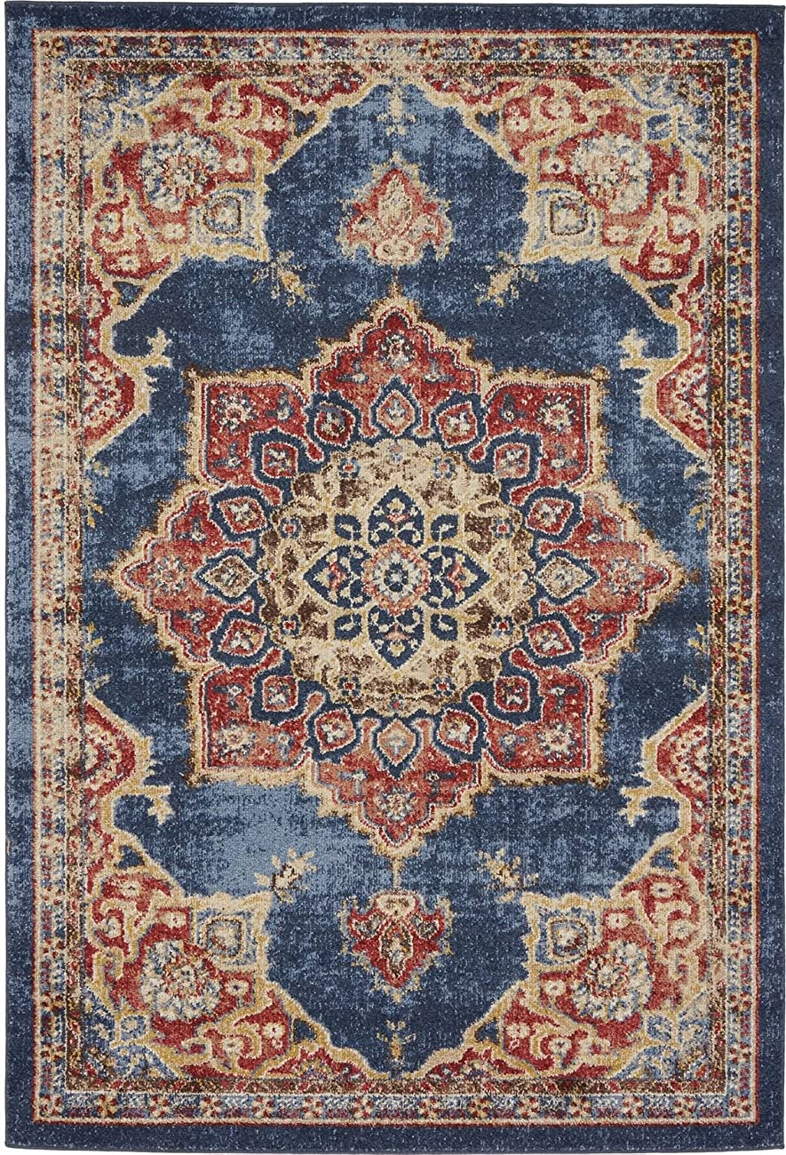 Traditional Persian Rugs Vintage Design Inspired Overdyed Fancy Dark Blue 4' x 6' FT (122cm x 183cm) St. James Area Rug 0