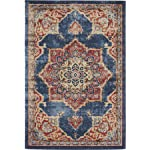 Traditional Persian Rugs Vintage Design Inspired Overdyed Fancy Dark Blue 4' x 6' FT (122cm x 183cm) St. James Area Rug