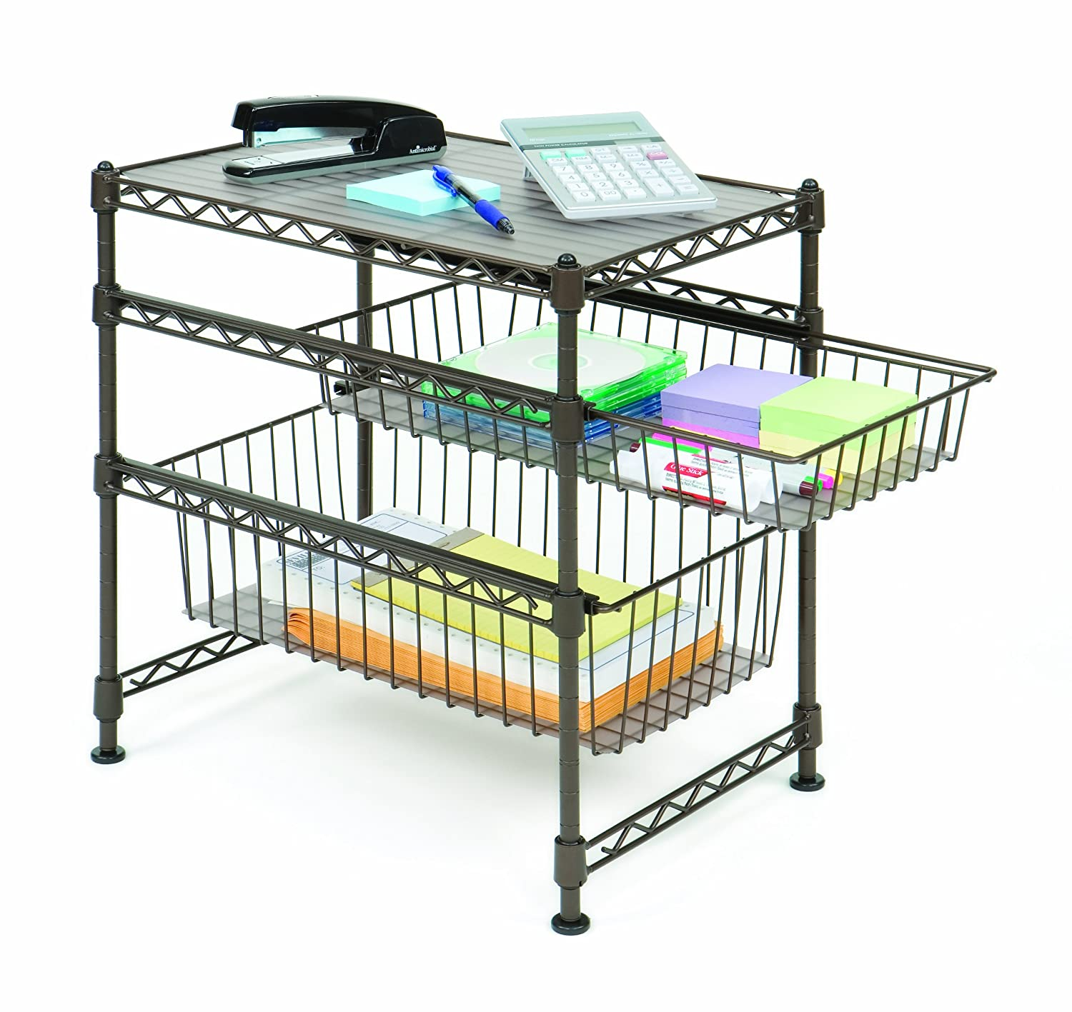 utility organizer storage shelf hold tier rack steel wire sliding basket kitchen ebay. Black Bedroom Furniture Sets. Home Design Ideas