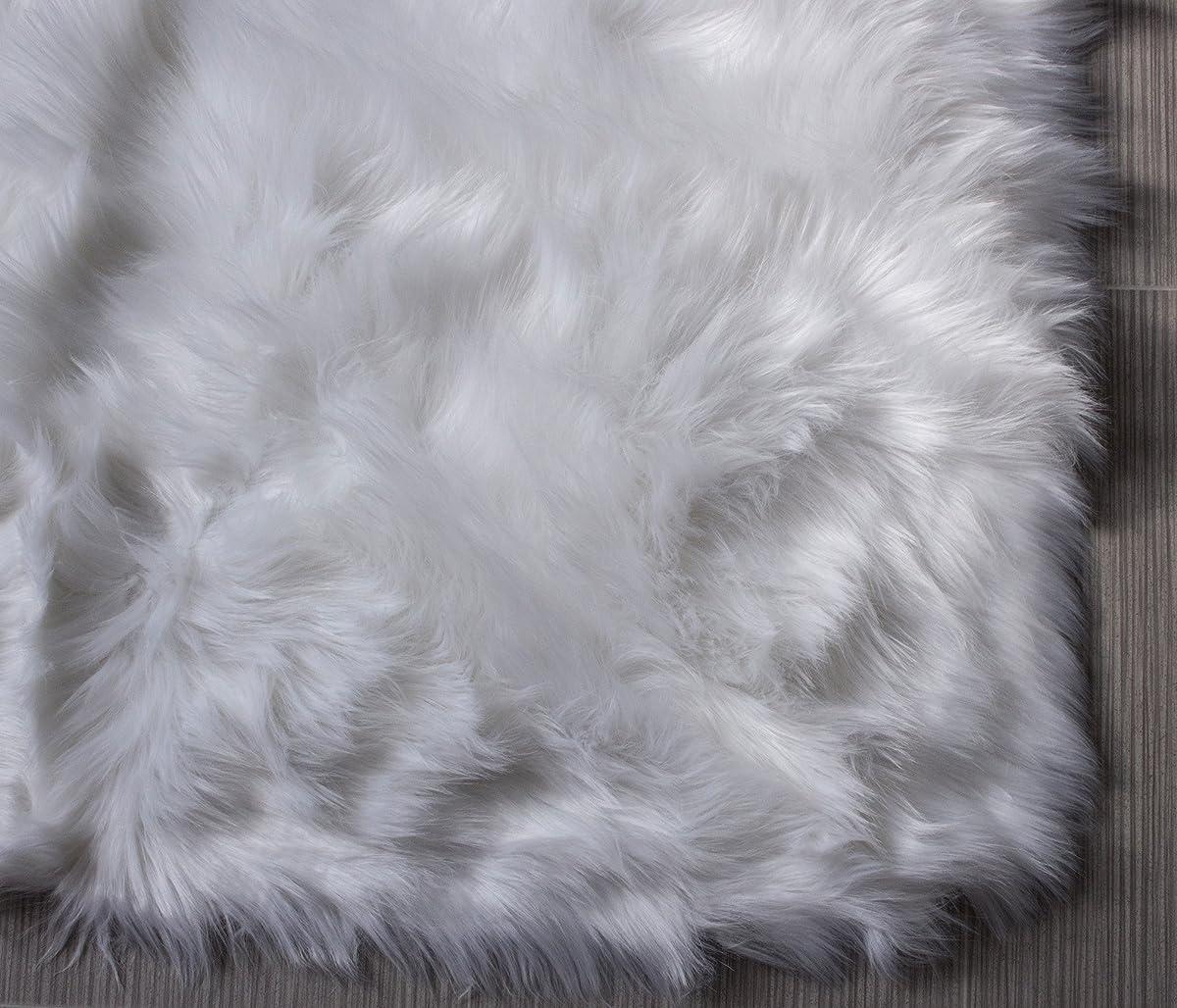 Super Area Rugs Soft Faux Fur Sheepskin Shag Silky Rug Baby Nursery Childrens Room Rug Ivory White, 3 x 5