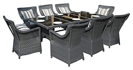 Yakoe Rectangle Rattan Dining Table with 8 Chairs Furniture Set Outdoor Garden Conservatory Patio Dining Set - Grey