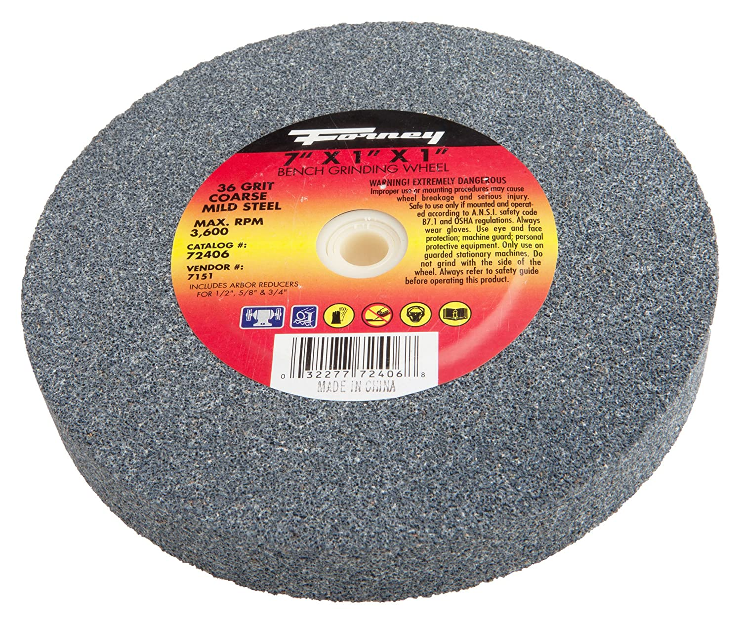 Forney 72406 Bench Grinding Wheel, Vitrified with 1-Inch Arbor, 7-Inch-by-1-Inch 4 inch 6 inch straight cup diamond grinding wheel for glass edger straight line double edging beveling machine m009
