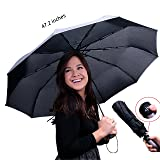 Travella Compact Umbrella Windproof Canopy Super Strong Premium Waterproof Fabric Auto Open and Close (Color: 190T Pongee| Black, Tamaño: One_Size)