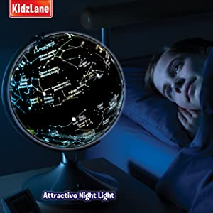 Interactive globe for kids 2 in 1 day view world globe and night interactive globe for kids 2 in 1 day view world globe and night view illuminated constellation map gumiabroncs Choice Image