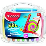 Maped Color'Peps Gel Retractable Watercolor Crayons & Free Brush, Assorted Colors, Pack of 10 (836345) (Color: Assorted)