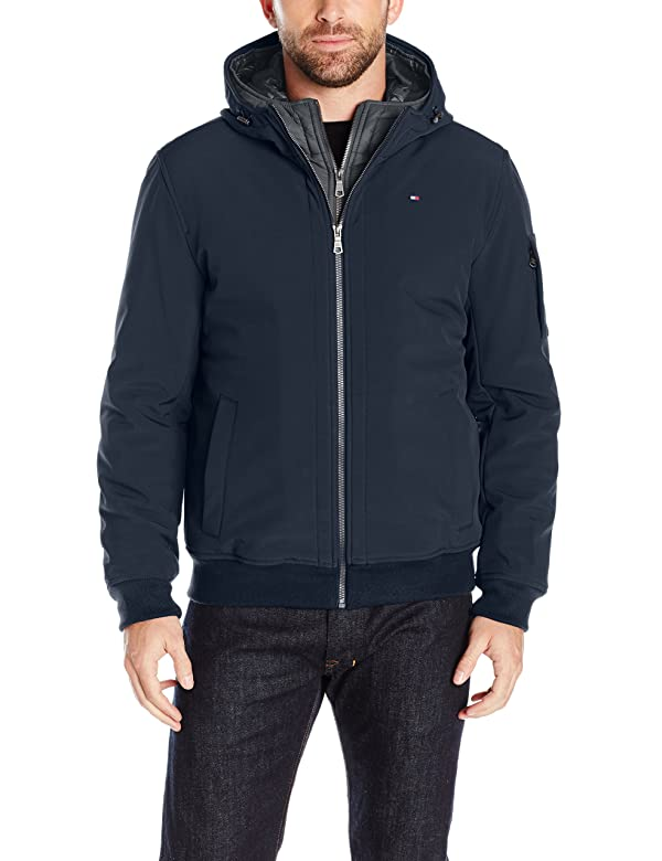 Tommy Hilfiger Men's Soft Shell Fashion Bomber with Contrast Bib and Hood, midnight/heather charcoal, Large (Color: Midnight/Heather Charcoal, Tamaño: Large)