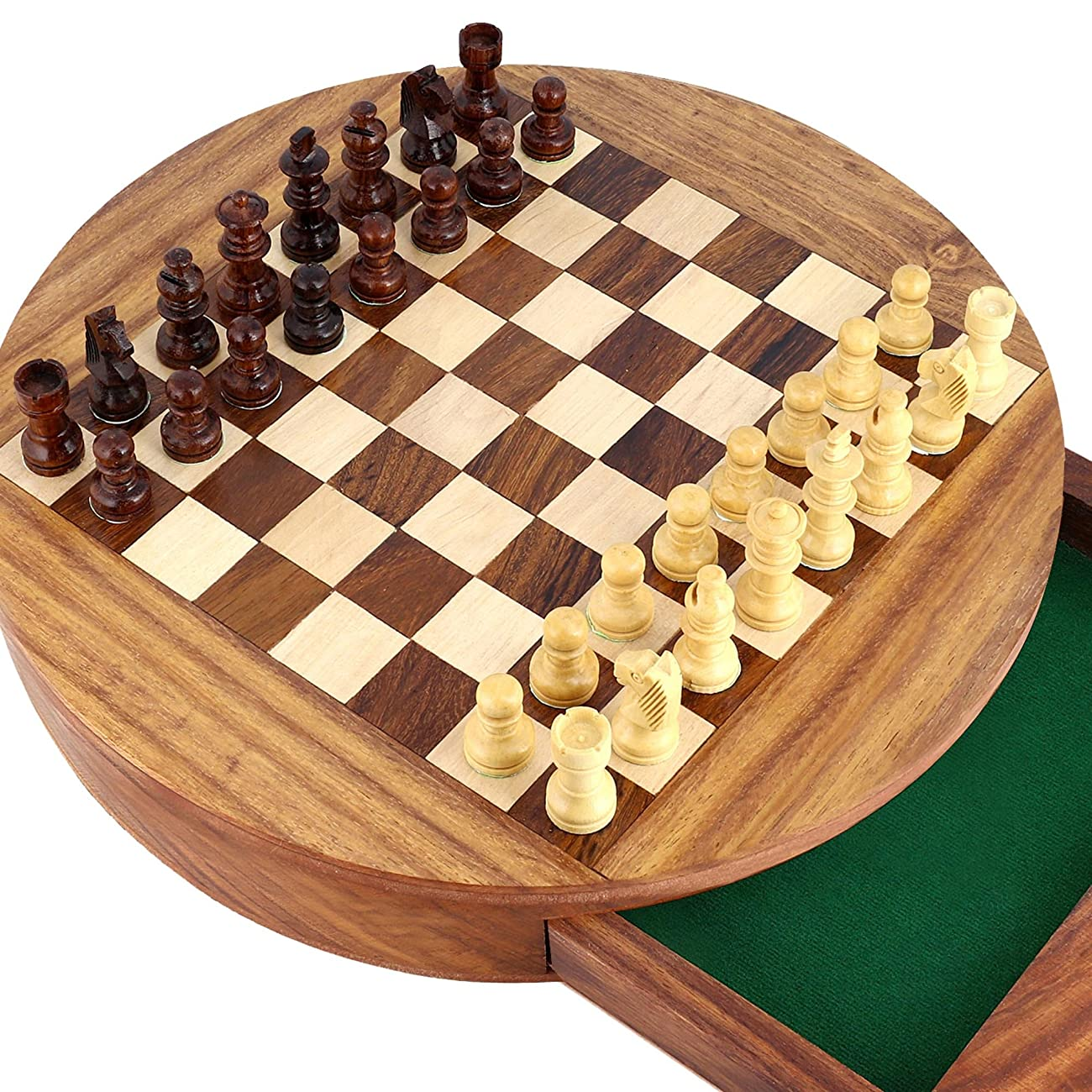 Unique Compact Box Magnetic Round Wooden Chess Board And Pieces Set Gift For Kids Adults 1