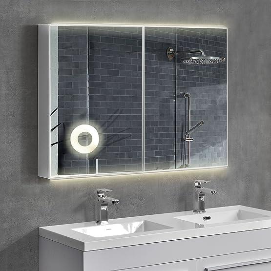 [neu.haus] Armadietto a specchio o specchio da bagno con LED