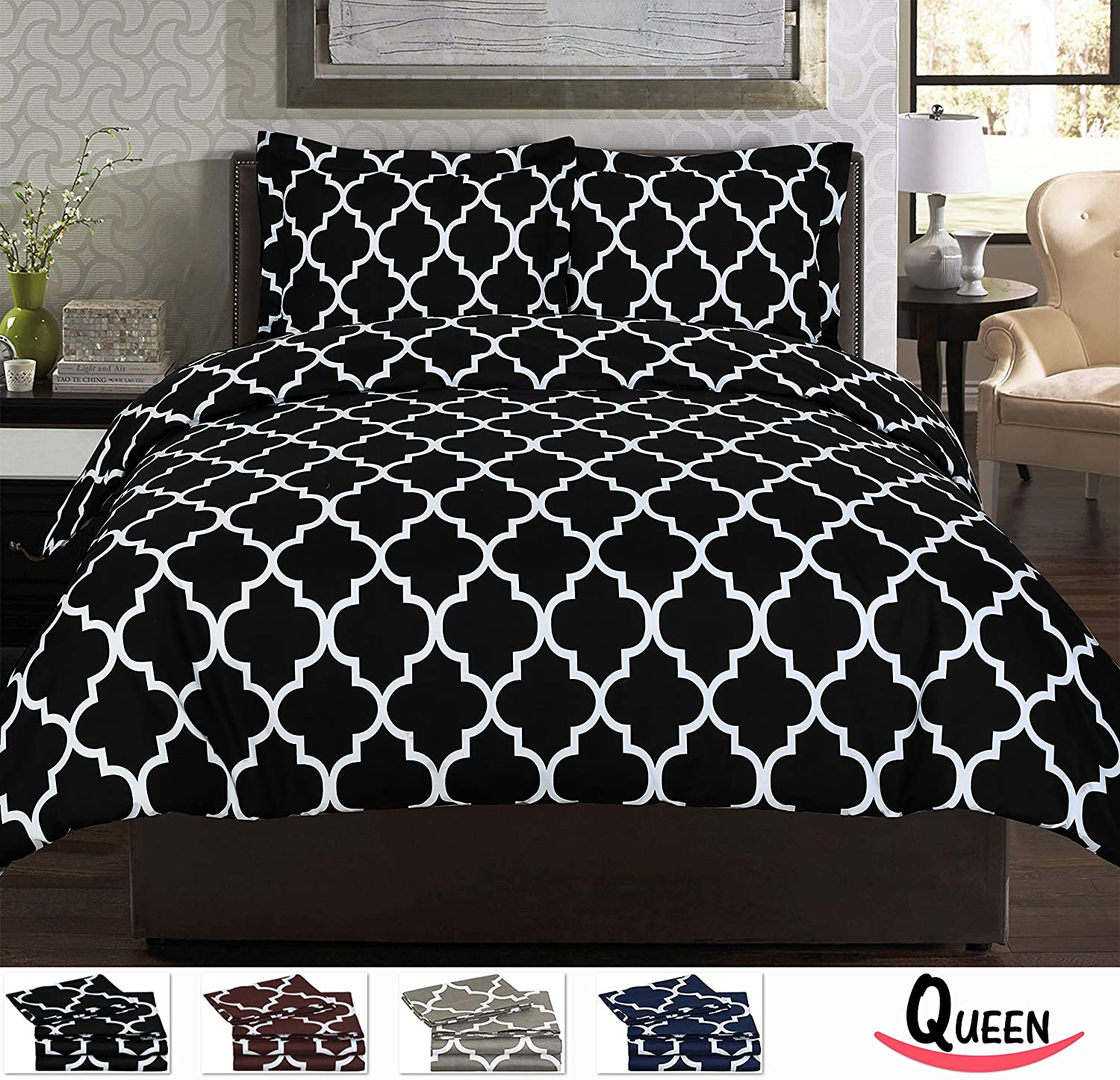 Bed sheet set black and white - Queen Printed Duvet Cover Set Black
