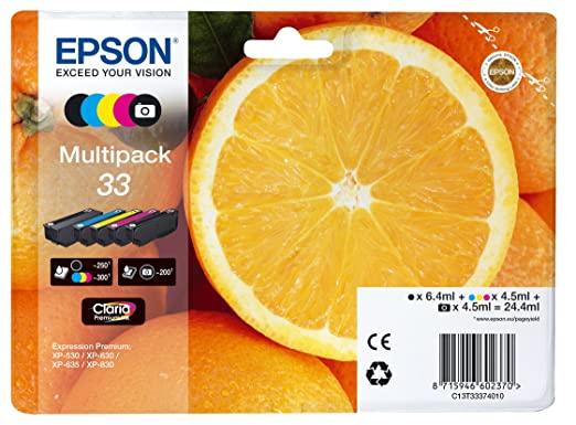 "Epson Multipack Cartouches d'Origine T33 ""Oranges"" - Encre Claria Home Noir, Noir Photo, Cyan, Magenta, Jaune"