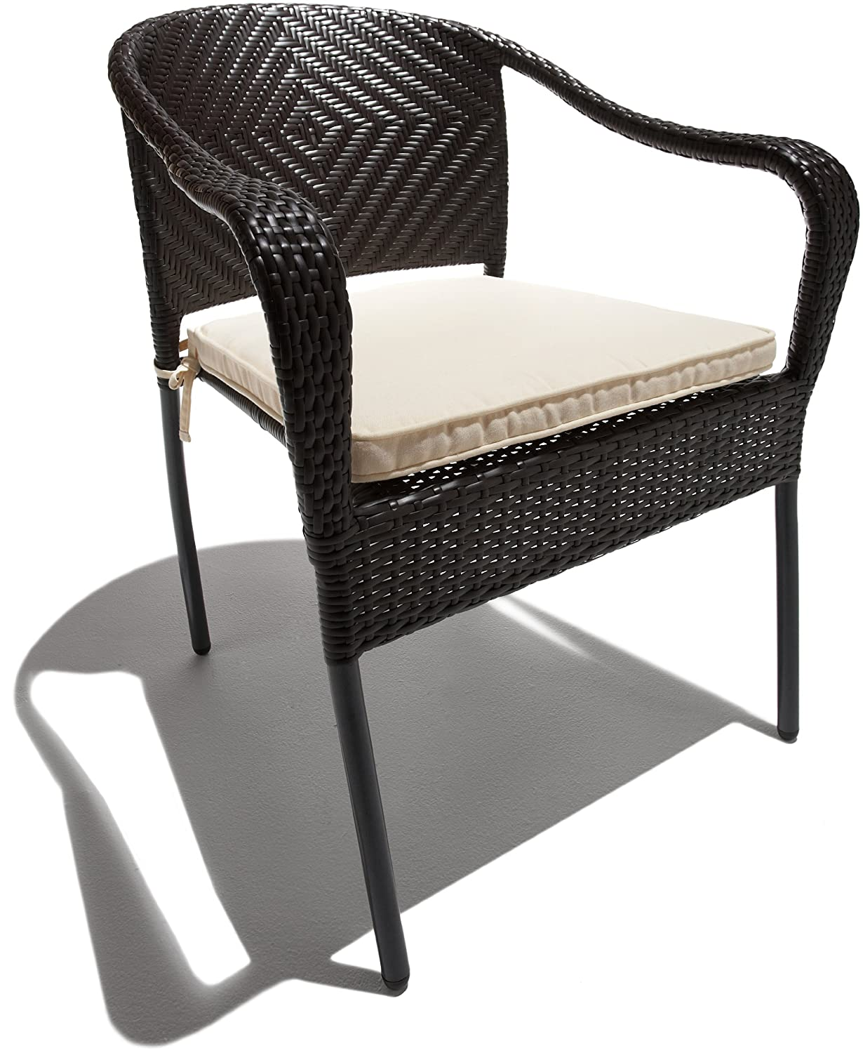Set Of 2 All Weather Wicker Stackable Chair Concave Back