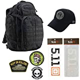 5.11 Kits RUSH72 Tactical Backpack 55L, Hat, Patches, and Decals Set - Army/Military and Tactical Gear Pack - Black