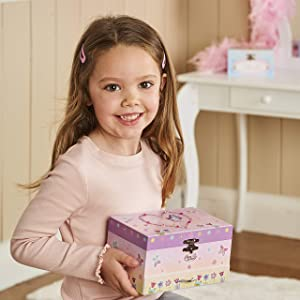 Pink and Blue Glittery Kids Musical Box Lucy Locket Ballerina Musical Jewellery Box for Children