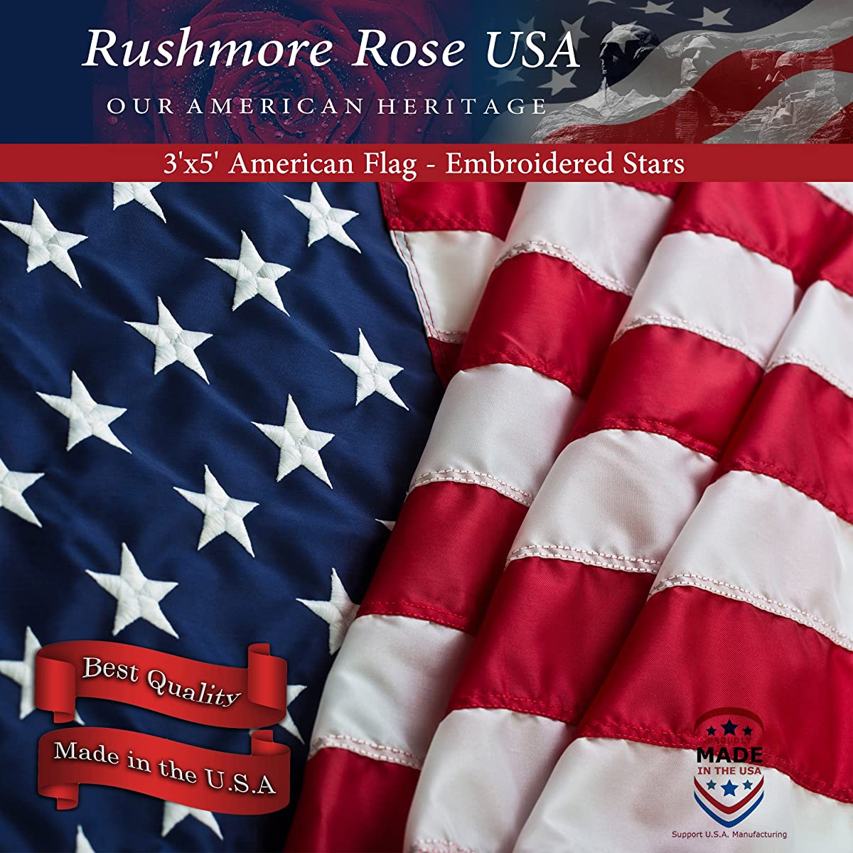 American Flag - Made in USA. Premium 3x5 US Flags. Embroidered Stars and Stripes - American Flags Made in America