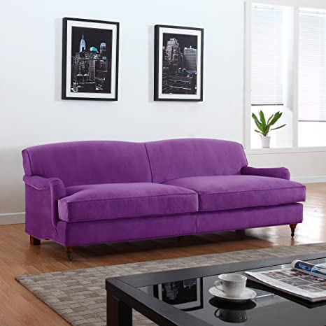 Mid Century Modern Sophisticated Large Brush Microfiber Sofa with Casters (Purple)