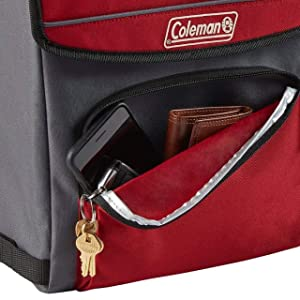 Soft-Sided Cooler Bag Folds Flat for Compact Storage Mahogany Coleman Collapsible Cooler with 16-Hour Ice Retention