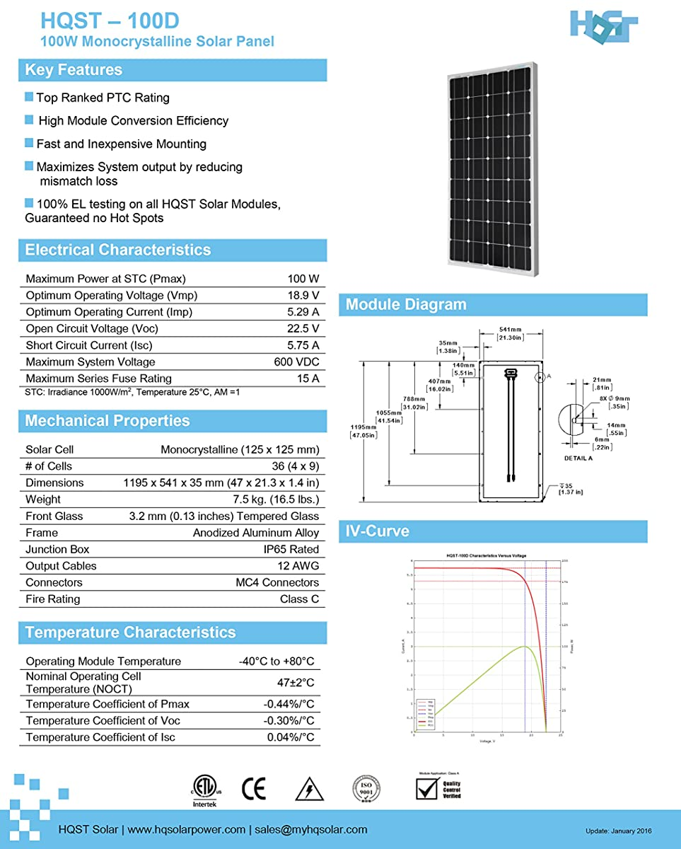 HQST 100 Watt 12 Volt Monocrystalline Solar Panel with MC4 Connectors 12 Volt Battery Charging RV, Boat, Off Grid