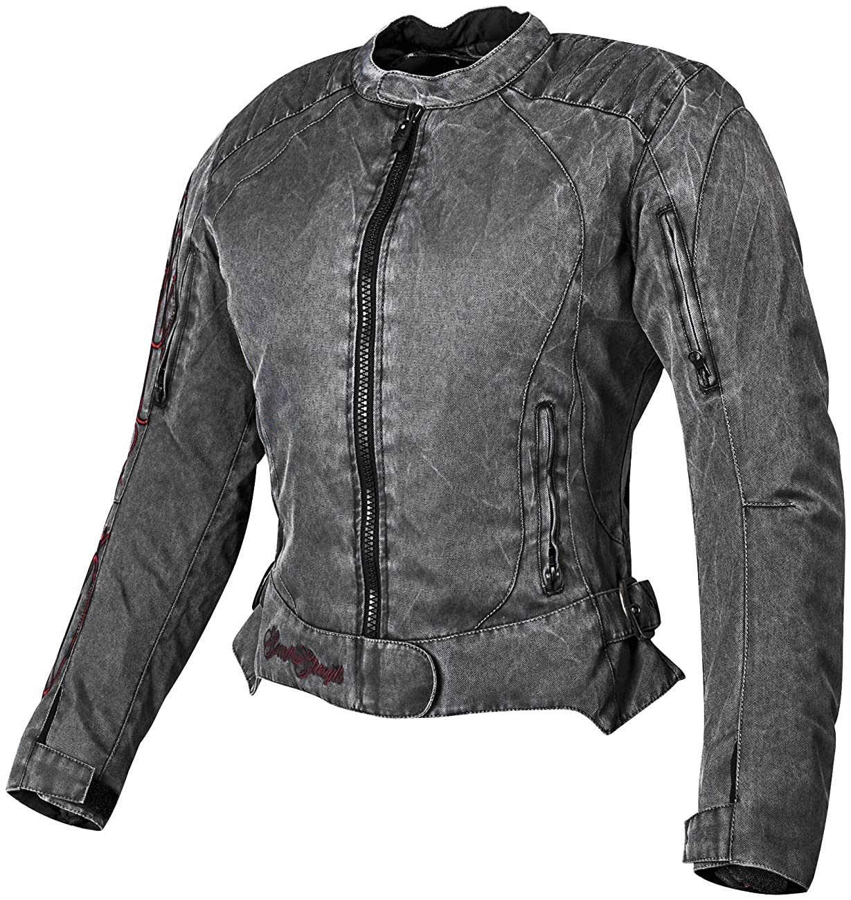Speed and Strength Heart and Soul Women's Mesh Street Bike Racing Motorcycle Jacket - Vintage Black/Red / 2X-Large 0