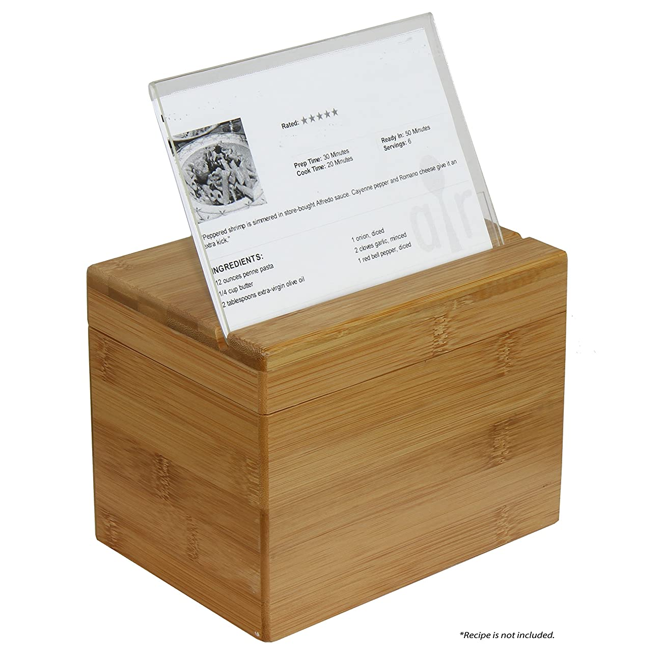 Oceanstar Bamboo Recipe Box with Divider, Natural 3