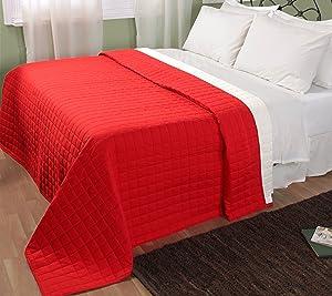 Homescapes waschbare Wende Tagesdecke Bettüberwurf Plaid mit KaroSteppung, 150 x 200 cm aus 100% reiner Baumwolle mit Polyester Füllung in rot und weiß    Bewertungen