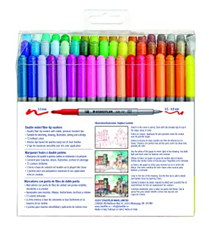 STAEDTLER double ended fiber-tip markers, for sketching, drawing, illustrations, and coloring, 72 vibrant colors, washable, 320TB72 LU (Color: multi-colored)