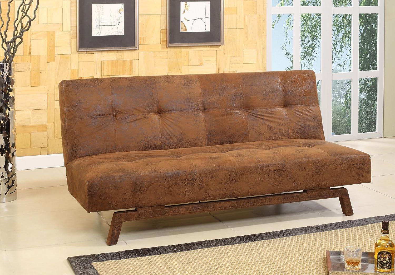 Rustic Brown Fabric With Adjustable Back Klik Klak Sofa ...