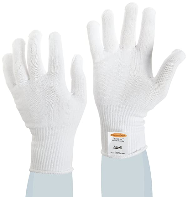 Ansell ThermaKnit 78-150 Thermolite Fast Wicking Fiber Insulator Glove, One Size Fits All (Pack of 12 Pairs) (Color: White, Tamaño: One Size)