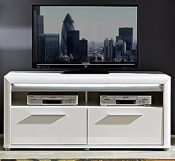 TV-Unterteil weiss hochglanz/ Absetzung Aluminium mit Beleuchtung