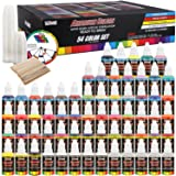 U.S. Art Supply 54 Color Ultimate Acrylic Airbrush, Leather & Shoe Paint Set with Cleaner, Thinner, 50-Plastic Mixing Cups, 50-Wooden Mix Sticks and a Color Mixing Wheel (Color: 54-color Deluxe Set, Tamaño: 54-Color Deluxe Set)