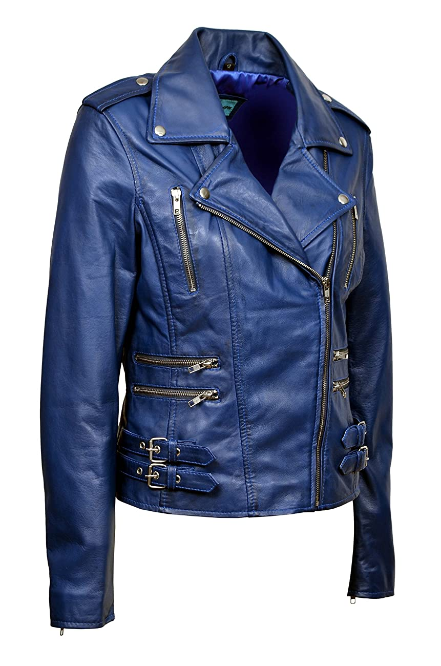 Smart Range Women's Mystique Vintage Retro Motorcycle Designer Leather Jacket 2
