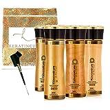 Keratin Cure Brazilian Complex Blow Out Hair Smoothing Treatment Kit Gold & Honey V2 CREME 4 Piece Kit (160ML / 5 FL OZ) Tratamiento Brasilera de Keratina Alisado (Tamaño: 160ML / 5 Fl Oz)