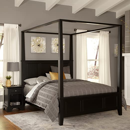 Home Styles Bedford Black Queen Canopy Bed and Night Stand