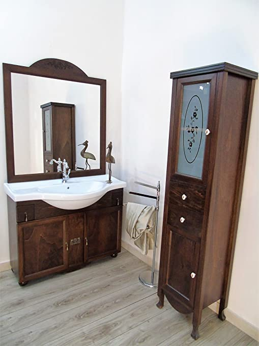 Arredo bagno classico in legno + colonna con vetro decorato arte povera